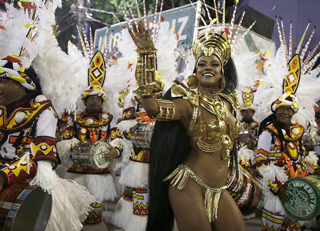 Imperatriz Leopoldinense samba school drum queen Vianna participates in the annual carnival parade in Rio de Janeiro's Sambadrome