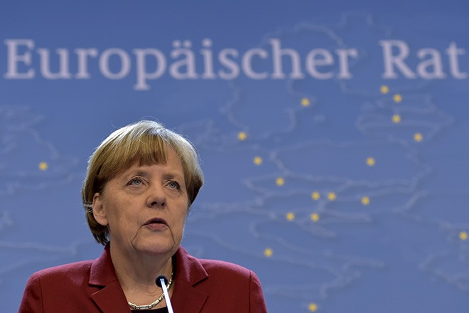 Germany's Chancellor Merkel gives a news conference after a European Union leaders summit in Brussels