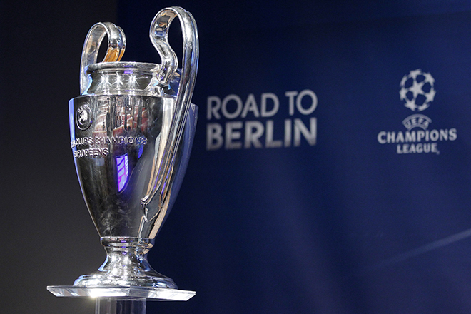 The Champions League trophy is pictured during the quarter-final draw at the UEFA headquarters in Nyon
