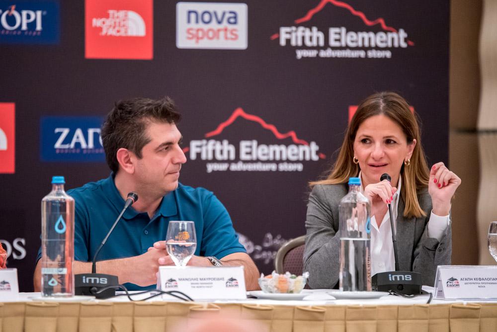 Από αριστερά: ο Brand Manager της The North Face, κ. Μανώλης Μαυροειδής, η Διευθύντρια Προγράμματος της Nova, κα. Αγάπη Κεφαλογιάννη