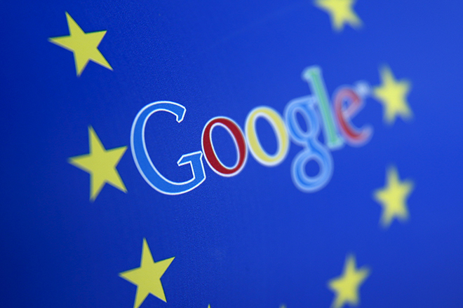 Google and European Union logos are seen in Sarajevo