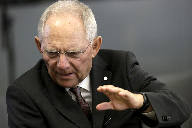 Minister of Finance of Germany Schaeuble attends Eurogroup tour-de-table during informal meeting of Ministers for Economic and Financial Affairs in Riga