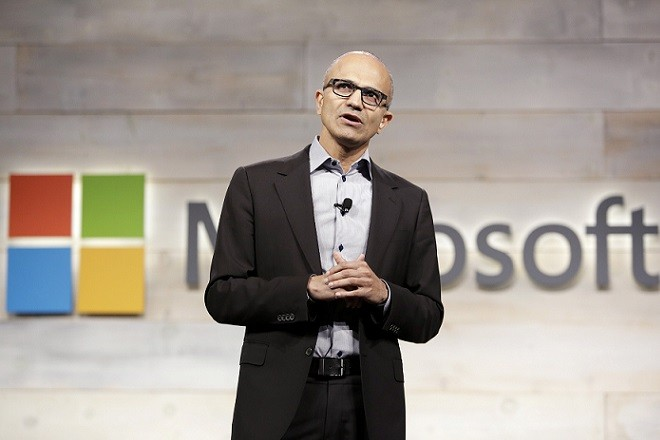 Microsoft Corp Chief Executive Satya Nadella speaks at his first annual shareholders' meeting in Bellevue, Washington