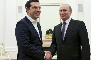 Russian President Vladimir Putin meets with Greek Prime Minister Alexis Tsipras