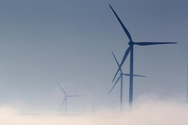 Turbines of a wind park are seen near Cernavoda, southeast Romania