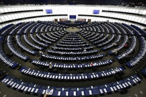 A general view shows the plenary room of the European Parliament during debate in Strasbourg
