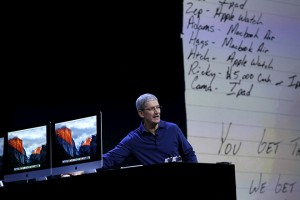 Apple CEO Tim Cook delivers his keynote address at the Worldwide Developers Conference in San Francisco, California June 8, 2015.  REUTERS/Robert Galbraith - RTX1FONW