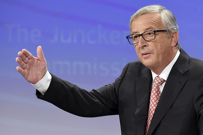 European Commission President-elect Jean-Claude Juncker unveils the list of the new European Commissioners during a press conference in Brussels, on September 10, 2014. AFP PHOTO /JOHN THYS