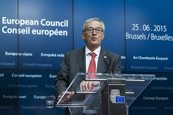 European Commission President Jean Claude Juncker holds a news conference at the European Council headquarters after the first day of a European Union leaders summit in Brussels, Belgium, June 26, 2015.  REUTERS/Yves Herman   - RTX1HU5O