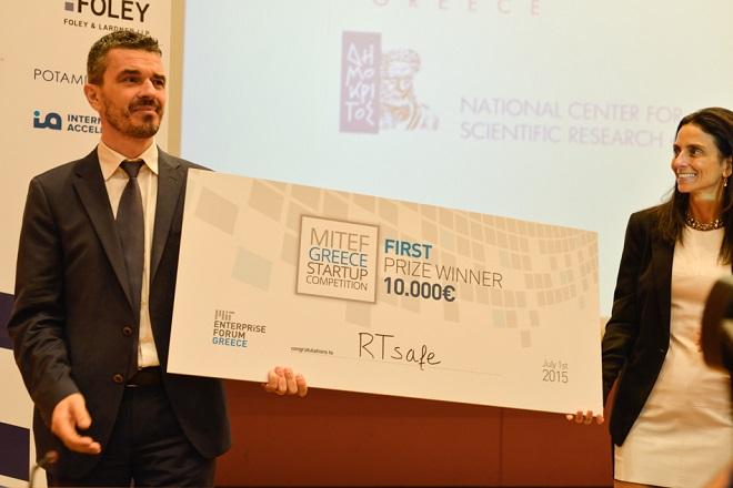 3. MITEF GR 1st Prize, RTsafe, Evangelos Pappas & Judge Marina Hatsopoulos
