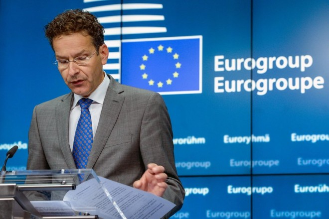 epa04845417 President of Eurogroup, Dutch Finance Minister Jeroen Dijsselbloem gives a press conference after his re-election at the end of Eurogroup Finance ministers meeting in Brussels, Belgium, 13 July 2015. His re-election came hours after an agreement was reached on the conditions for Athens to negotiate a third bailout package. Dijsselbloem's new mandate runs for two and a half years.  EPA/STEPHANIE LECOCQ