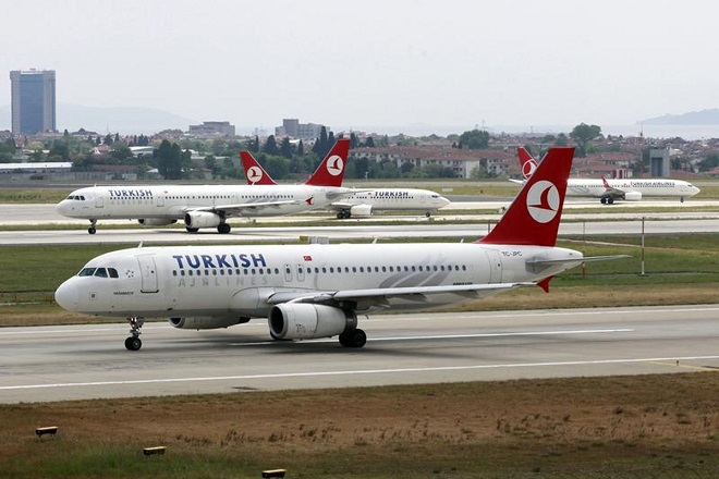 A Turkish Airlines plane prepares to take off at Ataturk International Airport in Istanbul