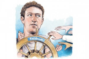 """USA - 2011: Doug Griswold illustration of Facebook founder Mark Zuckerberg steering the Facebook """"ship"""" as others reach for the handles. (Bay Area News Group/MCT via Getty Images)"""