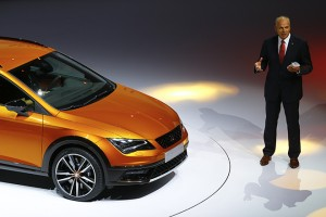 SEAT Leon Cross Sport is presented by SEAT CEO Juergen Stackmann during the Volkswagen group night ahead of the Frankfurt Motor Show (IAA) in Frankfurt, Germany, September 14, 2015.    REUTERS/Kai Pfaffenbach  - RTS138G
