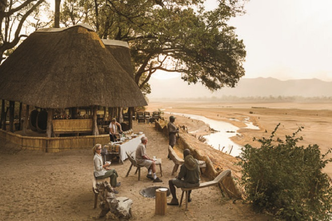 sunrise breakfast::Chamilandu Bushcamp:: south louangwa national park::  Zambia 2012