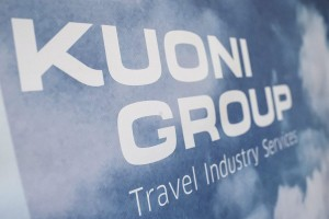 epa04813679 A poster with the Kuoni Group logo during a press conference for Kuoni Group regarding the successful sale of its European tour operating activities, in Zurich, Switzerland, 22 June 2015.  EPA/ENNIO LEANZA