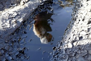 A clean-up crew member stands reflected in a pool of crude oil, leaked from a burst pipeline in the Arava desert, during the clean-up operation in the Evrona nature reserve near Eilat, Israel, on Thursday, Dec. 25, 2014. Ten days after the Trans-Israel pipeline burst, flooding the Evrona nature reserve with 5 million liters of crude oil, Israel's acting Environmental Protection Minister Ofir Akunis told the Cabinet Dec. 14 that 90 percent of the oil had been removed and the danger of it spreading to the Red Sea had been averted. Photographer: Ariel Jerozolimski/Bloomberg