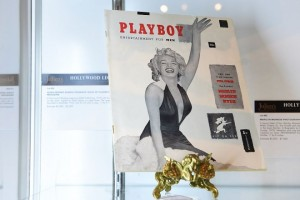 "The first issue of Playboy magazine with Marilyn Monroe on the cover and signed by Hugh Hefner on page three is displayed at Julien's Auction House in Beverly Hills, California on June 22, 2015 ahead of Julien's ""Hollywood Legends Auction"" on June 26th and June 27th. Hefner launched Playboy in December 1953, selling for 50 cents a copy, with this issue estimated at $3,000 - $5,000.  AFP PHOTO/FREDERIC J. BROWN        (Photo credit should read FREDERIC J. BROWN/AFP/Getty Images)"