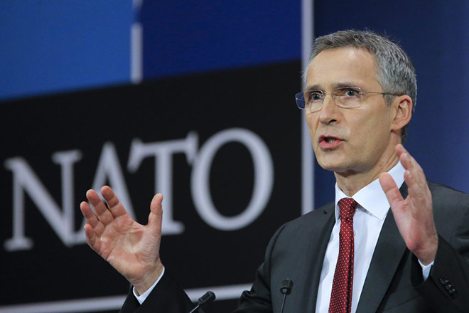 epa05151121 NATO Secretary General Jens Stoltenberg speaks during a press conference at Alliance headquarters in Brussels, Belgium, 09 February  2016, ahead of a NATO defense ministers' council.  NATO ministers will gather 10 and 11 February 2016.  EPA/OLIVIER HOSLET