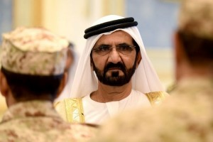 Sheikh Mohammed Bin Rashid al-Maktoum, ruler of Dubai looks on as he is welcomed by Saudi King Salman bin Abdulaziz (unseen) upon his arrival for the Gulf Cooperation Council (GCC) summit in Riyadh on May 5, 2015. The GCC summit came amid mounting international concern over the Saudi-led air war on Shiite rebels in Yemen, the threat from jihadists and Gulf worries over their Shiite rival Iran.  AFP PHOTO / FAYEZ NURELDINE        (Photo credit should read FAYEZ NURELDINE/AFP/Getty Images)