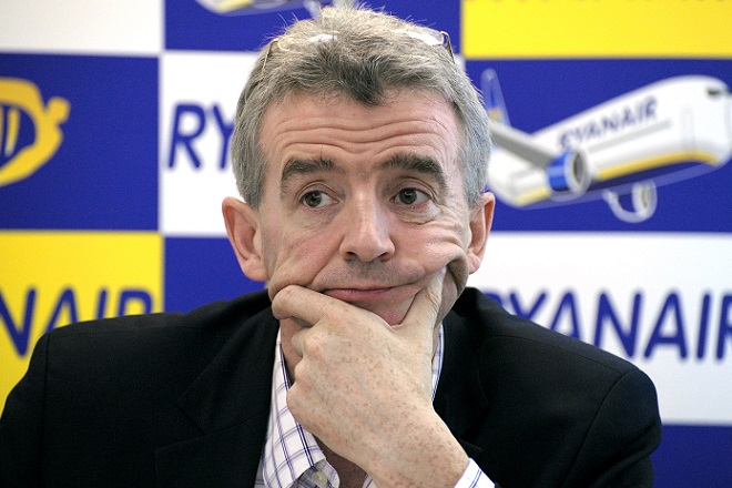 Irish budget airline Ryanair CEO Michael O'Leary takes part in a press conference in Paris on May 20, 2010. Ryanair rejects false claims made recently about Ryanair's contracts, employees and their tax arrangements at its Marseille base. AFP PHOTO  ERIC PIERMONT (Photo credit should read ERIC PIERMONT/AFP/Getty Images)