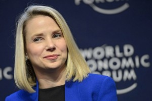 epa04907732 (FILE) A file picture dated 22 January 2014 of Marissa Mayer, Chief Executive Officer of Yahoo, during a panel session on the first day of the 44th Annual Meeting of the World Economic Forum (WEF) in Davos, Switzerland. In a blogpost, Yahoo CEO Mayer on 01 September 2015 announced she was pregnant and expecting identical twins likely to be delivered in December 2015.  EPA/LAURENT GILLIERON