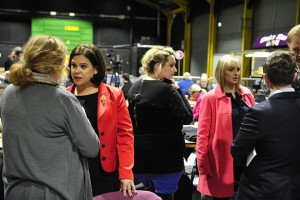 epa05184209 Sinn Fein's deputy leader Mary Lou McDonald (L) and the Irish Labour party's Mairia Cahill (R) in the Dublin City count centre in Dublin city, Ireland, 27 February 2016. Ireland's governing Fine Gael party says it's been a 'disappointing' election, and as the votes are being counted, there is a real possibility that it might have to find common ground with opposition Fianna Fail - even though both have ruled out a coalition.  EPA/AIDAN CRAWLEY