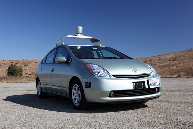 epa03211046 A Handout photograph released by Google on 08 May 2012 showing a Toyota Prius self-driving car. News reports state that Google has obtained a license in the state of Nevada, which changed its laws in March to allow self-drive cars, to operate the vehicle.  EPA/GOOGLE / HO  HANDOUT EDITORIAL USE ONLY/NO SALES