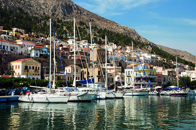 B61AJH Yachts in the harbour at Kalymnos, Greece