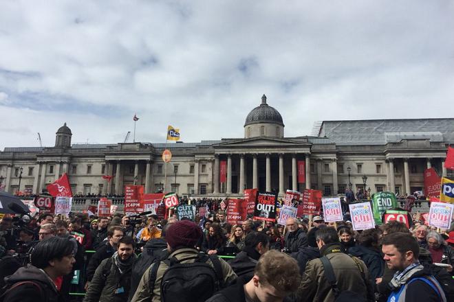 Διαδήλωση κατά της λιτότητας και του πρωθυπουργού Ντέιβιντ Κάμερον στη Βρετανία