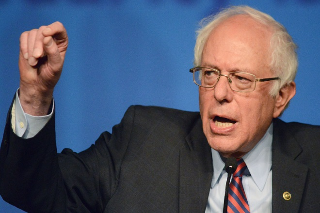 PHILADELPHIA, PENNSYLVANIA - APRIL 07: Democratic presidential candidate Sen. Bernie Sanders (D-VT) speaks during the AFL-CIO Convention at the Downtown Sheraton Philadelphia on April 7, 2016 in Philadelphia, Pennsylvania. The Pennsylvania primaries will be held on April 26. (Photo by William Thomas Cain/Getty Images)