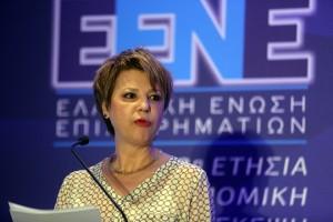 """Η υφυπουργός παρά τω Πρωθυπουργώ και Κυβερνητική Εκπρόσωπος  Όλγα Γεροβασίλη κατά την ομιλία της στην 3η Ετήσια Οικονομική Διάσκεψη της Ελληνικής Ένωσης Επιχειρηματιών με θέμα """"Προκλήσεις για την Ανάκαμψη"""", Τετάρτη 20 Απριλίου 2016. ΑΠΕ - ΜΠΕ/ΑΠΕ - ΜΠΕ/Αλέξανδρος Μπελτές"""