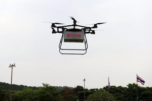 epa05365963 A handout picture made available by the South Korean Army shows a military delivery drone fliying during a demonstration at a project assessment conference in Gyeryongae, the headquarters of South Korea's Army, Navy and Air Force, south of Seoul, South Korea, 15 June 2016. The Army said it will soon deploy the drones to deliver supplies to troops around the country.  EPA/SOUTH KOREAN ARMY SOUTH KOREA OUT HANDOUT EDITORIAL USE ONLY/NO SALES