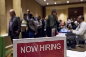 Attendees wait in line to speak with job recruiters at the San Jose Career Fair in San Jose, California, U.S., on Tuesday, Nov. 10, 2015. Photographer: David Paul Morris/Bloomberg