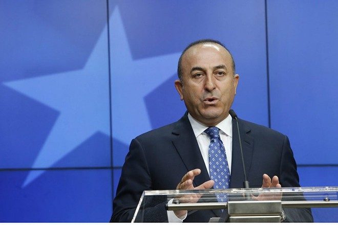epa05398544 correcting epa05398423 Turkish Foreign Minister Mevlut Cavusoglu gives a press breifing at the end of  EU / Turkey accession intergovernmental conference in Brussels, Belgium, 30 June 2016. Ministers open a new chapter in negotiations and negociate with Turkey visa-free access to the Schengen area.  EPA/OLIVIER HOSLET CAPTION CORRECTION: ID OF PERSON IS MEVLUT CAVUSOGLU. APOLOGIES FOR ANY INCONVENIENCE.