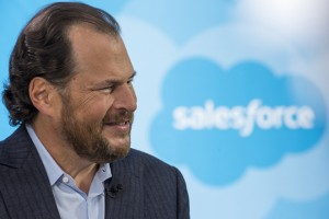 Marc Benioff, chairman and chief executive officer of Salesforce.com Inc., listens during a Bloomberg West television interview at the DreamForce Conference in San Francisco, California, U.S., on Thursday, Sept. 17, 2015. Salesforce.com Inc. aims to cut the time its customers spend plugging data into its systems by weaving machine-learning technology from acquisition RelateIQ into its software for managing sales accounts. Photographer: David Paul Morris/Bloomberg via Getty Images