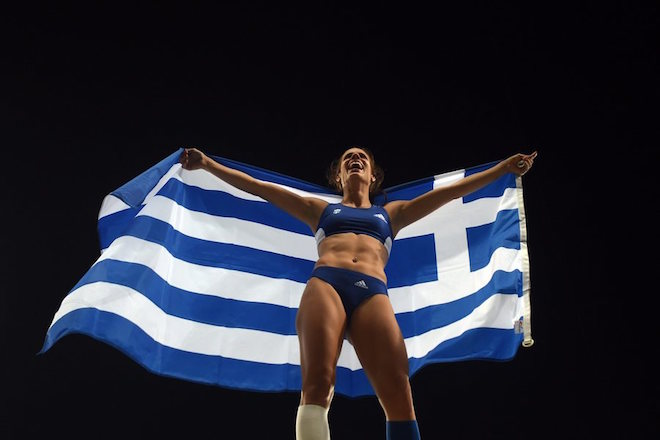 epa05501481 Ekaterini Stefanidi of Greece celebrates after winning the women's Pole Vault final of the Rio 2016 Olympic Games Athletics, Track and Field events at the Olympic Stadium in Rio de Janeiro, Brazil, 19 August 2016.  EPA/LUKAS COCH AUSTRALIA AND NEW ZEALAND OUT