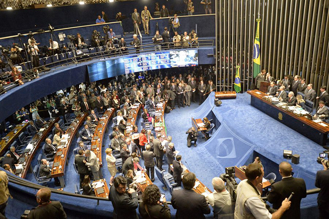 epa05516970 General view of the Senate during the last impeachment hearing against Brazilian suspended President Dilma Rousseff at the Senate in Brasilia, Brazil, 31 August 2016. The hearing will end with the voting whether to impeach Rousseff or not.  EPA/CADU GOMES
