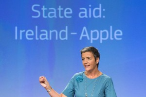 epa05515156 Danish EU Commissioner for Competition Margrethe Vestager speaks at a news conference on a case of illegal tax benefits for US company Apple at the European Commission, in Brussels, Belgium, 30 August 2016. Ireland gave illegal tax benefits to Apple worth up to 13 billion euros, Vestager said explaining the results of European Commission investigations examining whether decisions by tax authorities in Ireland, with regard to the corporate income tax to be paid by Apple comply with the EU rules on state aid. The Commission has been investigating under EU state aid rules certain tax practices in several member states following media reports alleging that some companies have received significant tax reductions by way of 'tax rulings' issued by national tax authorities.  EPA/STEPHANIE LECOCQ