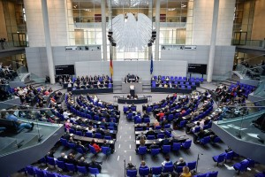 epa05412359 German Chancellor Angela Merkel delivers a speech to the German Bundestag in Berlin, Germany, 07 July 2016. In her government declaration the Chancellor outlined the German strategy for the upcoming NATO summit.  EPA/SOPHIA KEMBOWSKI