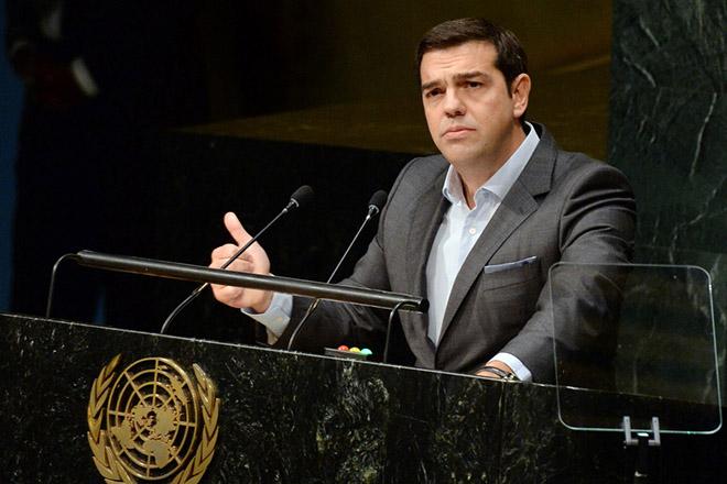 O πρωθυπουργός Αλέξης Τσίπρας μιλάει στη Σύνοδο κορυφής του ΟΗΕ , για την Αναπτυξιακή Ατζέντα 2015, στη Νέα Υόρκη, Κυριακή 27 Σεπτεμβρίου 2015. ΑΠΕ-ΜΠΕ/ΑΠΕ-ΜΠΕ/ΔΗΜΗΤΡΗΣ ΠΑΝΑΓΟΣ