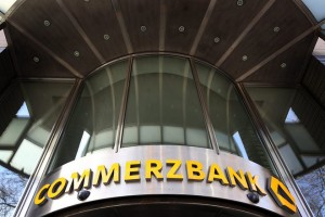 epa05156099 (FILE) A file picture dated 03 December 2013 showing the name and logo of the global banking and financial services company Commerzbank AG at the facade on a branch of the bank in Duesseldorf, Germany. Commerzbank on 12 February 2016 released their 2015 results, saying their net profit was 1,06 billion euro, compared with 266 million euro in 2014. 4th quarter 2015 profit was at 187 million euro compared with a loss in 2014 of 280 million euro.  EPA/MARTIN GERTEN