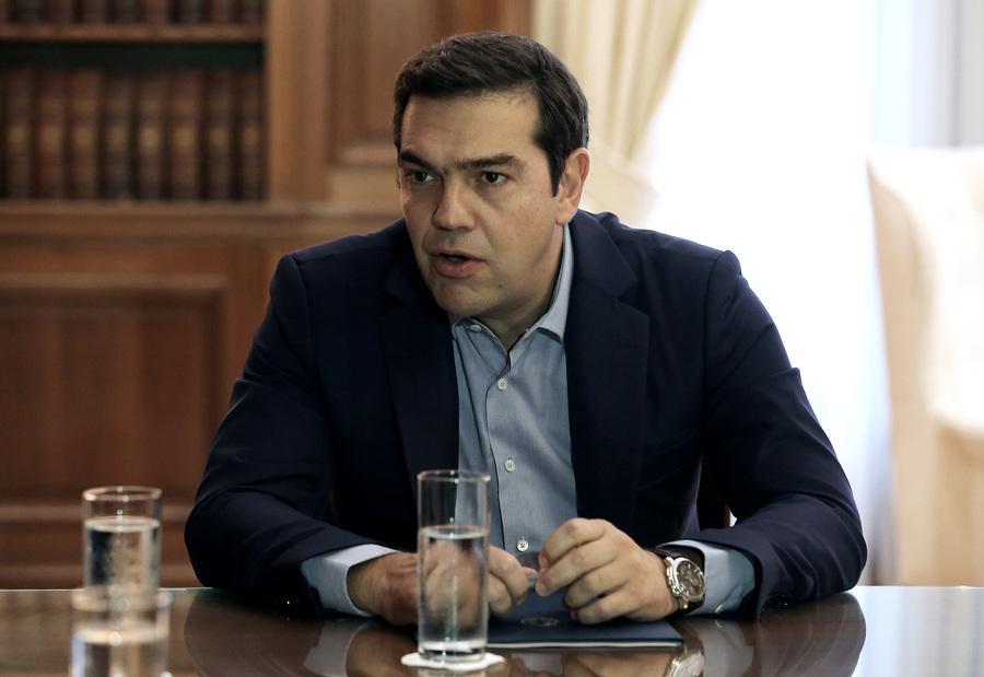 Ο πρωθυπουργός, Αλέξης Τσίπρας μιλάει με τους προέδρους των Ανώτατων Δικαστηρίων κατά τη συνάντησή τους στο Μέγαρο Μαξίμου, Αθήνα, την Πέμπτη 6 Οκτωβρίου 2016. ΑΠΕ-ΜΠΕ/ΑΠΕ-ΜΠΕ/SIMELA PANTZARTZI