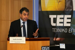 "O Πρόεδρος της ΕΣΕΕ Βασίλης Κορκίδης μιλά από το βήμα κατά τη διάρκεια εκδήλωσης του ΤΕΕ με θέμα: «Χρηματοδοτικά Μέσα για την Ελληνική Αγορά», στην αίθουσα εκδηλώσεων του Επιμελητηρίου, στην Αθήνα, Πέμπτη 06 Οκτωβρίου 2016.Το workshop ""Financial Instruments for the Greek Market"" τελεί υπό την αιγίδα του Υπουργείου Εσωτερικών και Διοικητικής Ανασυγκρότησής, με την υποστήριξη της Αντιπροσωπείας της Ευρωπαϊκής Επιτροπής στην Ελλάδα και στόχο έχει να ενημερώσει το ελληνικό επιχειρηματικό κοινό για τις δυνατότητες χρηματοδότησής του και εν γένει τη λειτουργία των χρηματοδοτικών εργαλείων της Ευρωπαϊκής Επιτροπής και ειδικά του Σχεδίου Γιούνκερ από τους κατεξοχήν γνώστες και ειδικούς. ΑΠΕ-ΜΠΕ/ΑΠΕ-ΜΠΕ/Παντελής Σαΐτας"