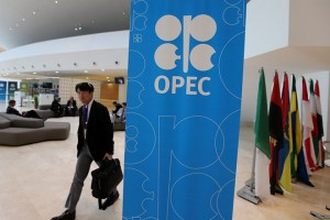 epa05560111 OPEC logo seen at the Palace Congress building during 15th International Energy Forum (IEF15) and informal meeting of the Organization of Petroleum Exporting Countries (OPEC) ministers in Algiers, Algeria, 28 September 2016. Algeria is hosting the 15th International Energy Forum (IEF15) between 26 and 28 September. Members of the Organization of the Petroleum Exporting Countries (OPEC) will reportedly have talks in Algeria on the sideline of the meeting.  EPA/MOHAMED MESSARA