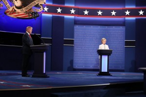 epa05593021 Democratic candidate Hillary Clinton (R) and Republican candidate Donald Trump (L) at the start of the final Presidential Debate at the University of Nevada-Las Vegas in Las Vegas, Nevada, USA, 19 October 2016. The debate is the final of three Presidential Debates and one Vice Presidential Debate before the US National Election on 08 November 2016.  EPA/ANDREW GOMBERT