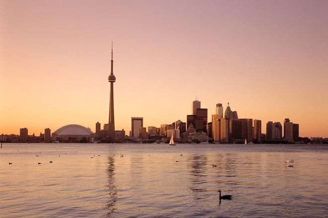 AE49XC Canada, Toronto skyline at sunset