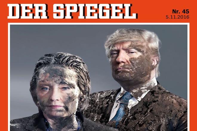 Λάσπη (κυριολεκτικά) σε Κλίντον και Τραμπ από το Spiegel