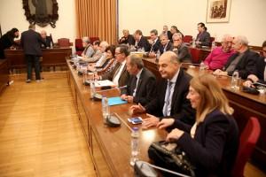 Ο πρόεδρος της Βουλής Νίκος  Βούτσης (1-A) προεδρεύει στη Διάσκεψη των Προέδρων της Βουλής για τη συγκρότηση του Εθνικού Συμβουλίου Ραδιοτηλεόρασης (ΕΣΡ), την Πέμπτη 10 Νοεμβρίου 2016. ΑΠΕ-ΜΠΕ/ΑΠΕ-ΜΠΕ/Αλέξανδρος Μπελτές
