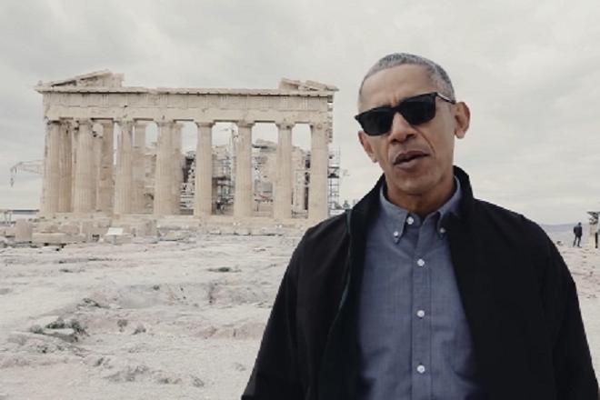 To βίντεο του Ομπάμα για τη Δημοκρατία με φόντο τον Παρθενώνα